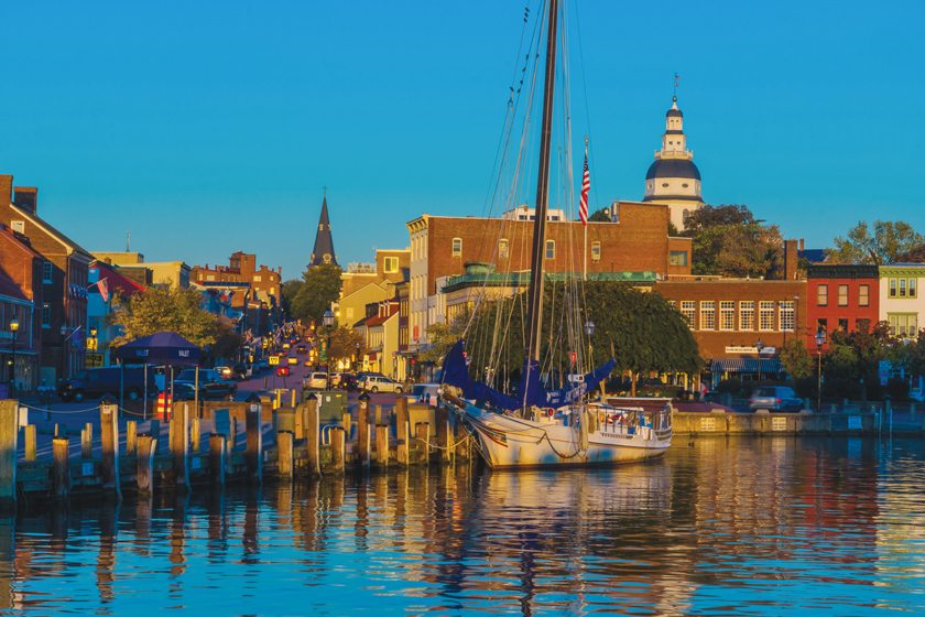 The Maryland State House and St. Anne's Church are in view  from the picturesque City Dock along Main Street.