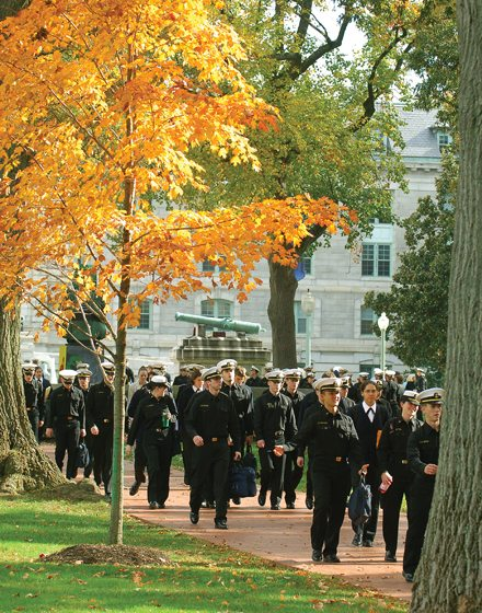 U.S. Navy midshipmen are a common sight on the city's streets.