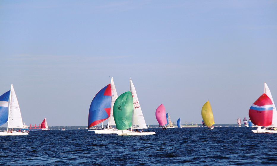 Sailors compete in the Wednesday Night Races in waters surrounding Annapolis from April to August.