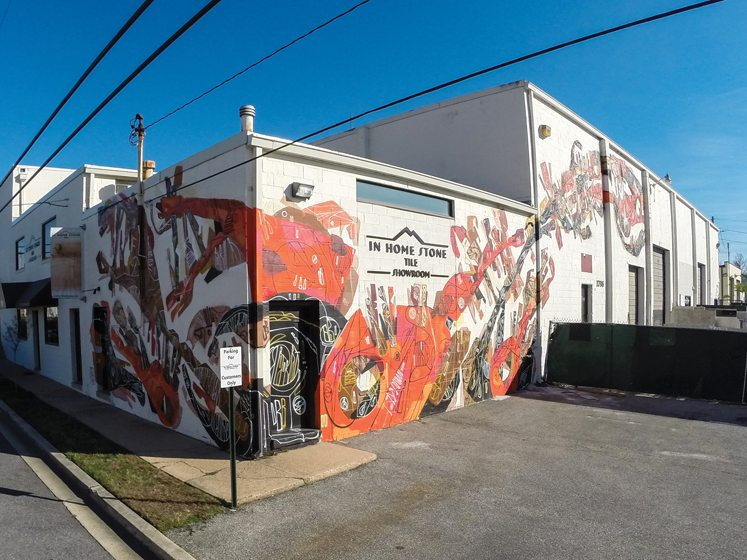 In the Design District, a mural embellishes In Home Stone.