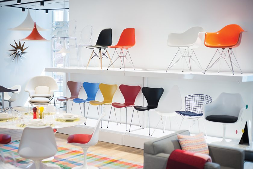 A colorful assortment of chairs at Design Within Reach.