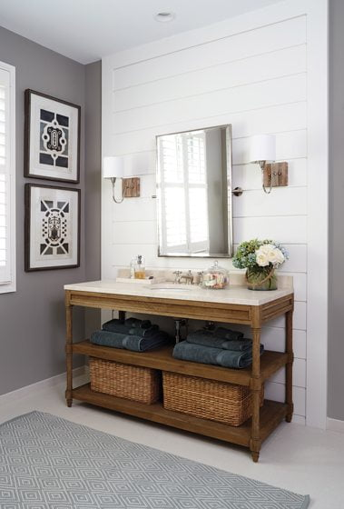 Peake selected Restoration Hardware vanities in the master bath, where shiplap panels create a clean, crisp vibe.
