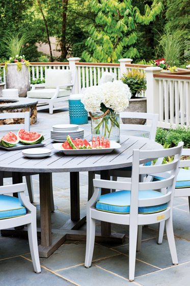 A terrace on the ground level is ideal for casual entertaining.