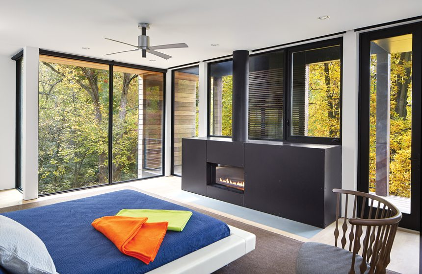The master bedroom incorporates a gas fireplace.