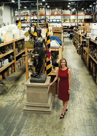 Tiffany Zappulla, in the set decoration warehouse, has won three Emmy nominations for her work on the show. © Andrew Fair