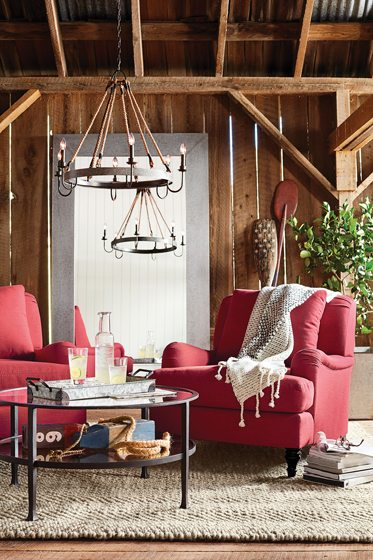 The Napa Wine Barrel Wood & Metal Chandelier from Pottery Barn.