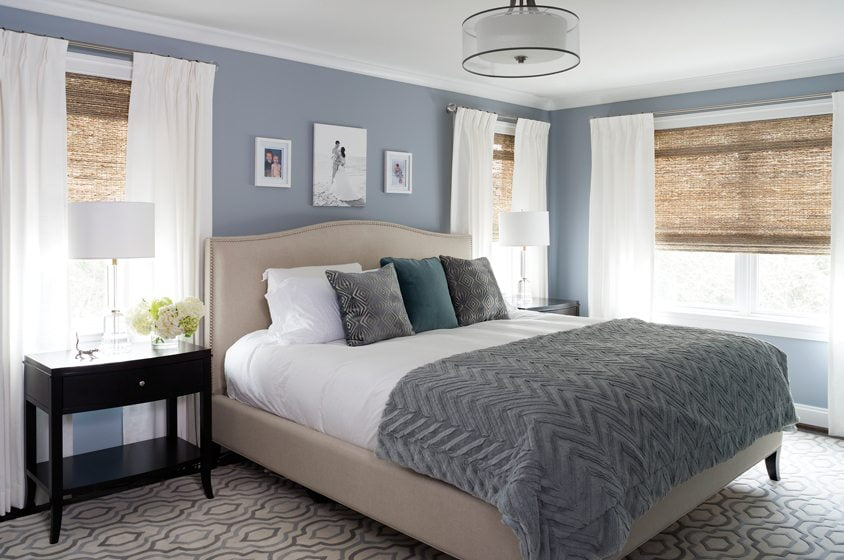 A Restoration Hardware bed occupies center stage in the new master suite, which features a Circa Lighting fixture.