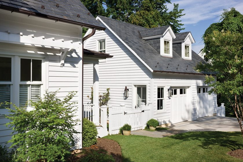 Neumann overhauled the home's existing detached garage to create a new second-story office.