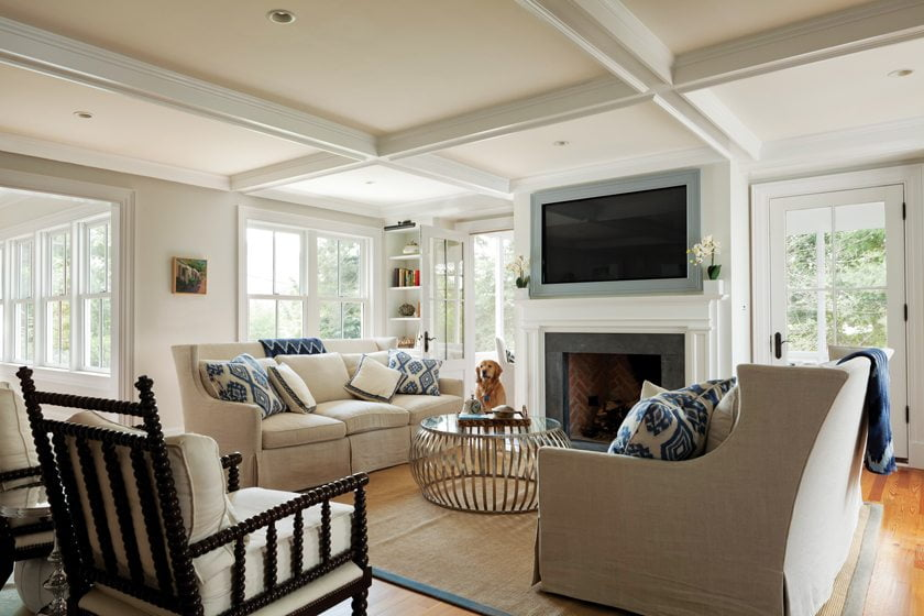 The family-room fireplace shares a chimney with a fireplace in the adjacent screened porch.