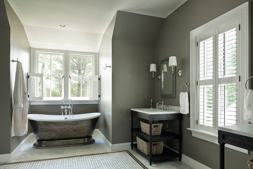 The master bathroom offers views in three directions.