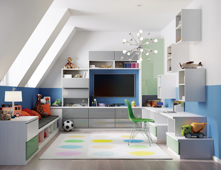 A rendering shows a completed attic playroom by California Closets, with plenty of flexible storage space.