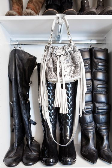 The Closet Factory wardrobe includes racks for hanging boots. © Chicville USA