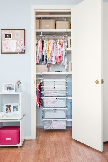 The Container Store's elfa system optimizes space in a nursery closet.