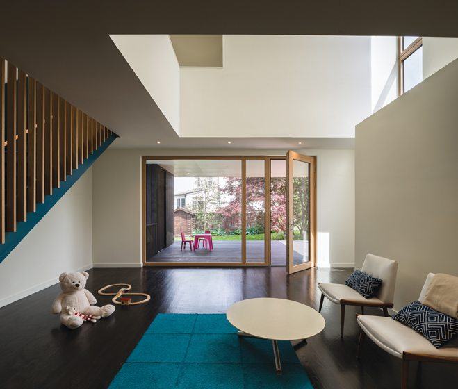 The addition houses a two-story playroom.
