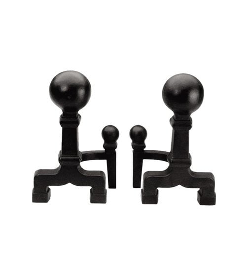 Plow & Hearth's Wrought Iron Ball Andirons.
