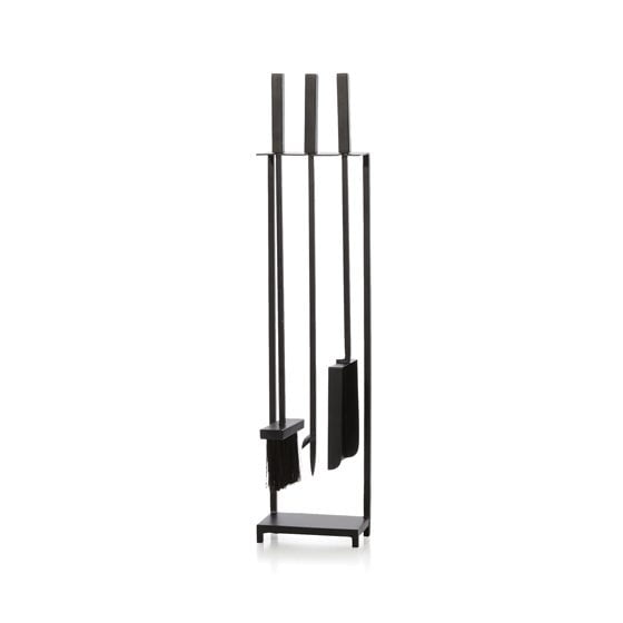 Black Fireplace Tools, designed by Ana Reza-Hadden for Crate & Barrel.