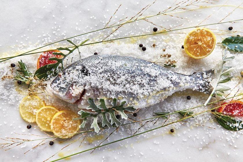 Dorade baked in a salt crust, courtesy of Del Mar.