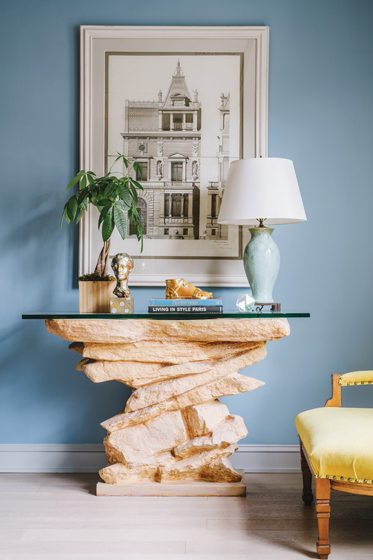 A circa-1881 architectural study in ink and gouache is paired with a Sirmos 'Rock' console.