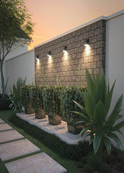 The Neutrino outdoor sconce from LBL Lights.