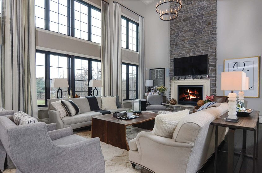A two-story great room lets in the light in Zander Homes' Old Bosley Road, in Lutherville, Maryland.