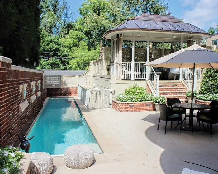 A project by Mangan Group Architects encompassed a pool and gazebo on a small DC lot.