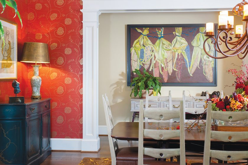 The painting in the dining room is by Pedro Diego Alvarado, grandson of Diego Rivera.