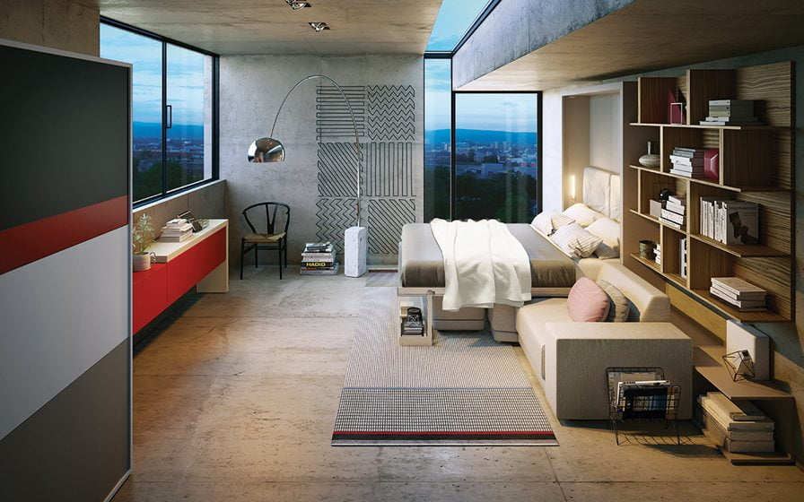 The Oslo queen wall-bed (open). Photo courtesy Clei/Resource Furniture