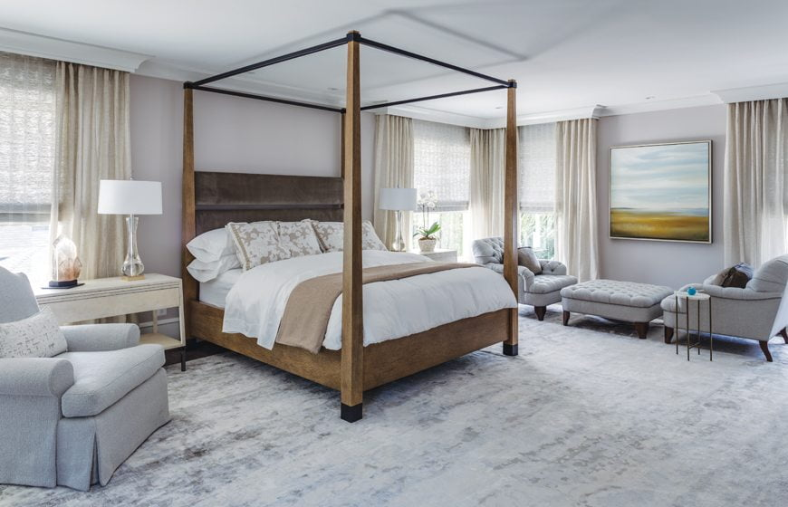 The master suite gained luxurious proportions from an addition off the back.