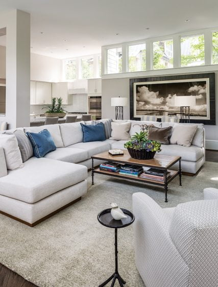 An A. Rudin sectional offers ample seating for frequent movie nights.