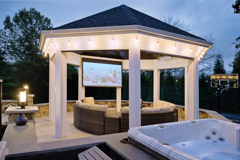 The gazebo features a TV screen that can be concealed in the ceiling.