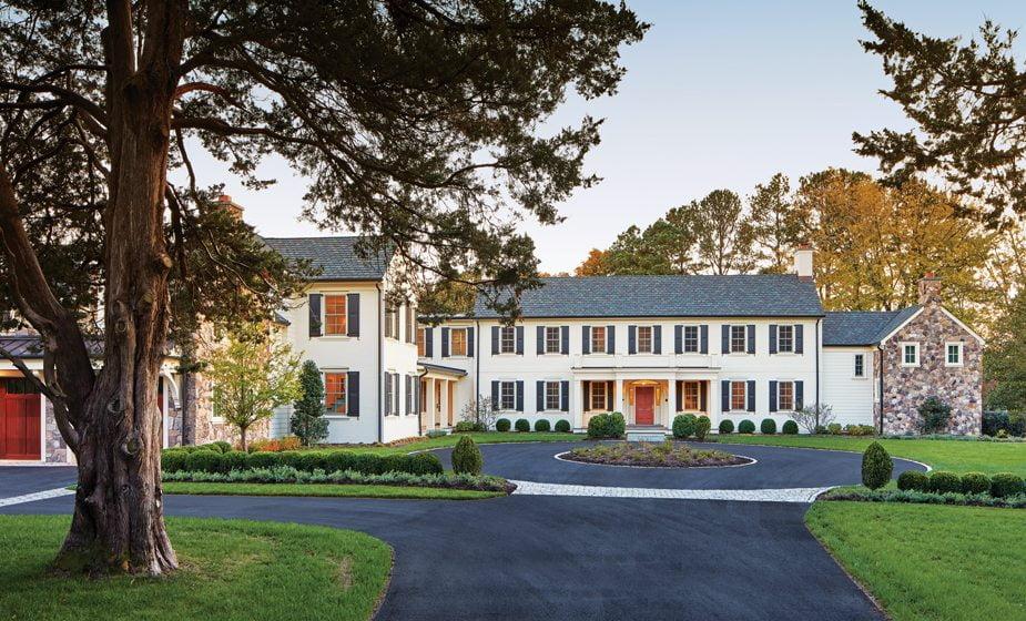 Architect Cathy Purple Cherry designed a portico around the main entrance of the original home.