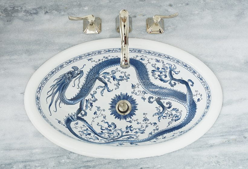 A decorative Kohler sink in the master bath.