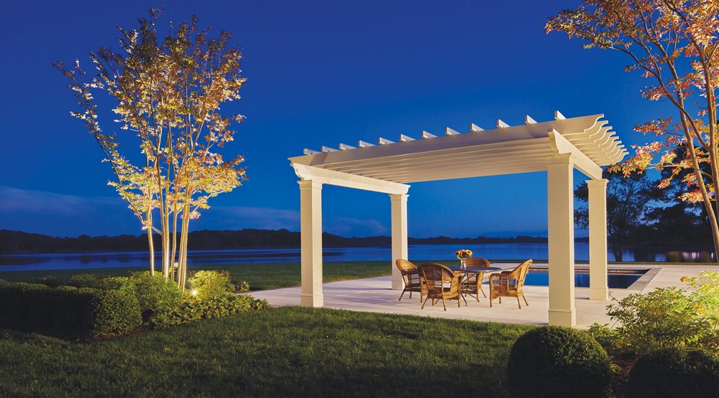 A pool and pergola by McHale Landscape Design lets water views take center stage.