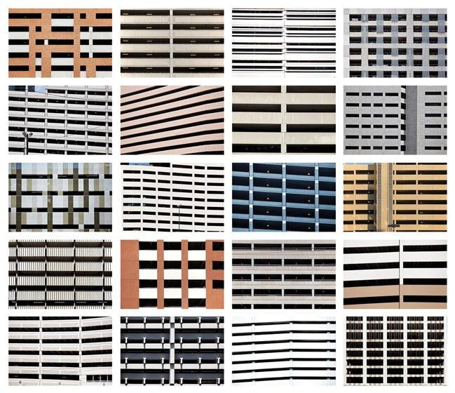 "Marcin's ""Twenty Parking Garages"" series assembled photos in a grid."