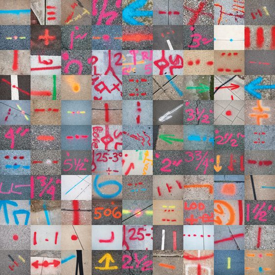"""Tiny detail shots of neon scrawl form the mosaic """"Utility Markings."""""""