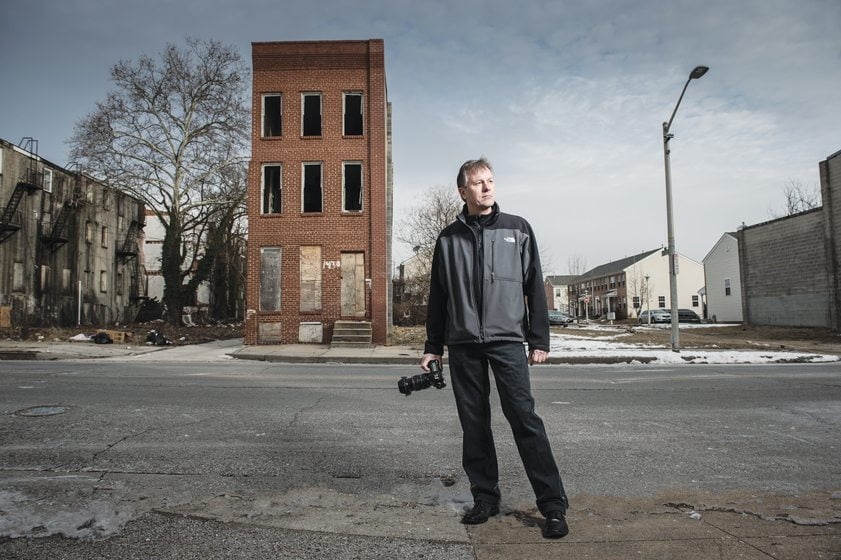 """Ben Marcin depicts urban landscapes in his """"Last House Standing"""" series. © Mike Morgan"""