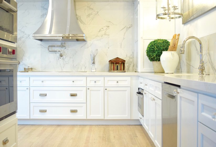 A kitchen overhaul introduced sleek cabinetry and a Silestone backsplash.