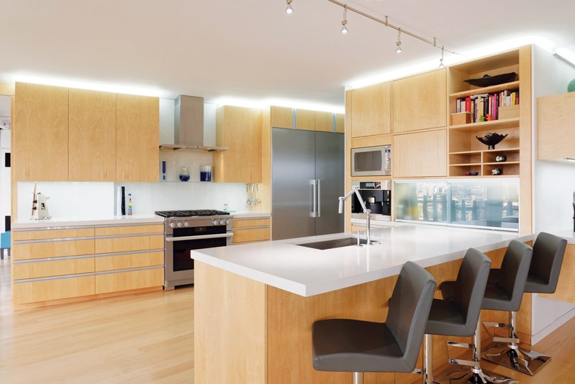 Clean, modern elements replaced the home's dated fixtures in the kitchen.