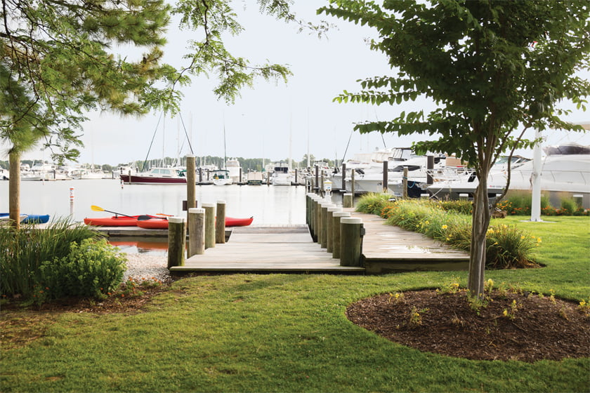 Boaters enjoy easy access to the marinas at the Inn at Haven Harbour.
