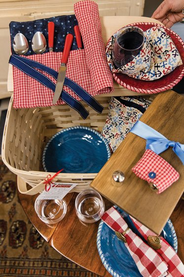 Items for an al fresco meal, courtesy of Vintage Picnic.