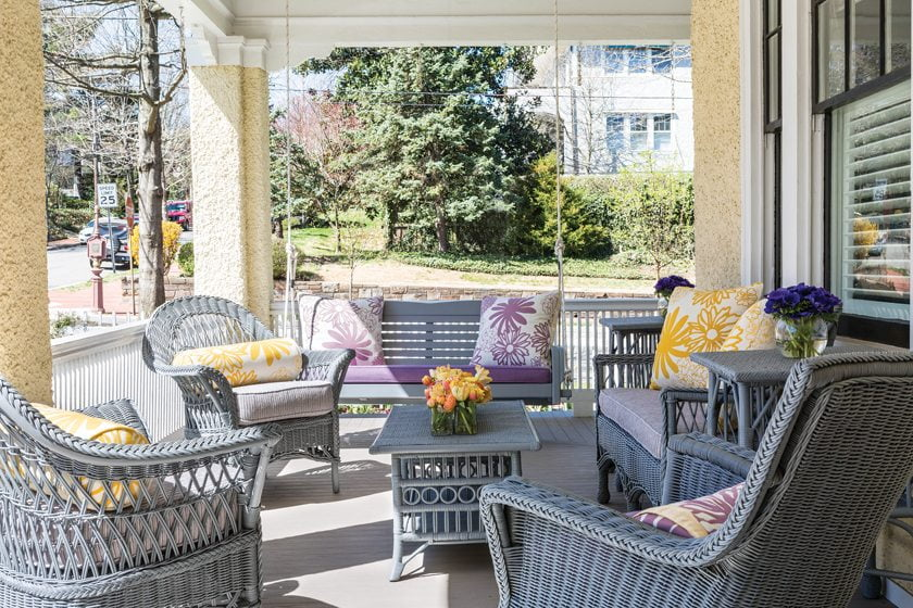 Ireland repainted existing wicker furniture on the porch.