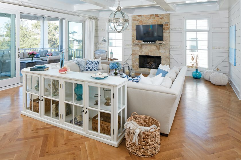 The great room connects to the porch via sliding-glass doors.