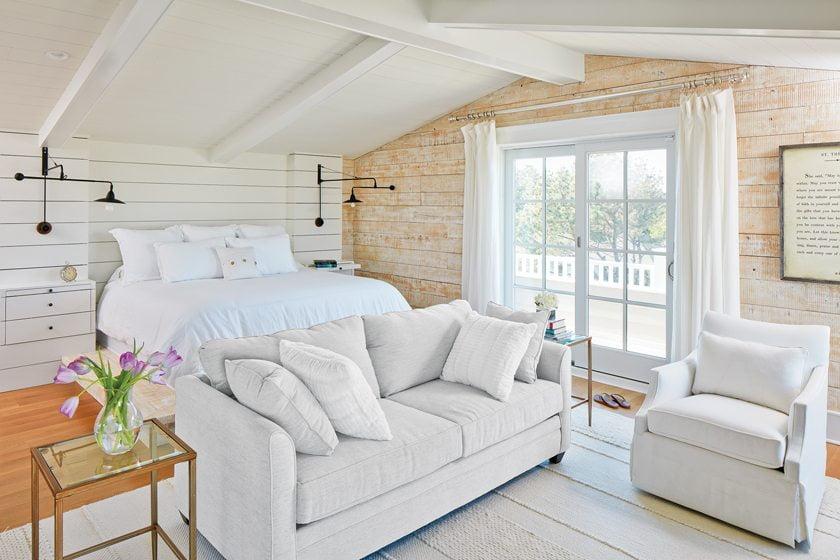 Oursler designed her reclaimed-wood platform bed.