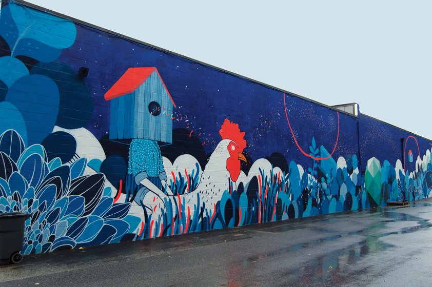 Velasco's bold mural explores interactions between humans and nature.