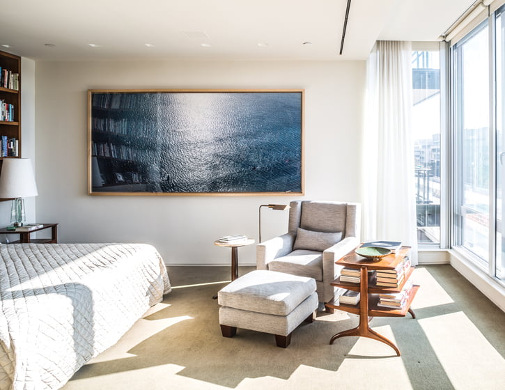 A large seascape by California photographer Richard Misrach hangs in the master bedroom.
