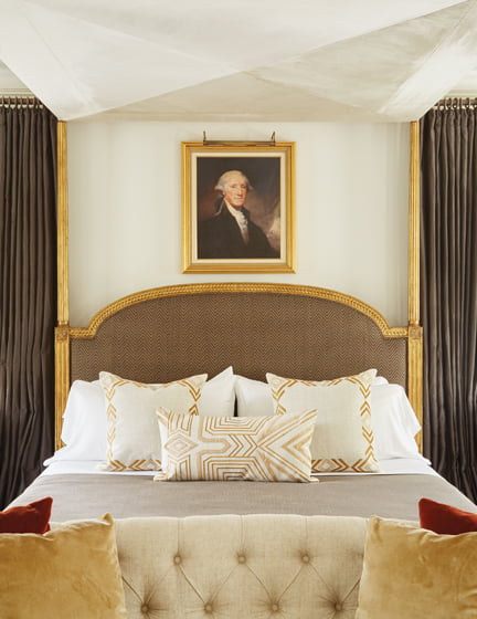 The George Washington-inspired master bedroom offers tradition with a twist.