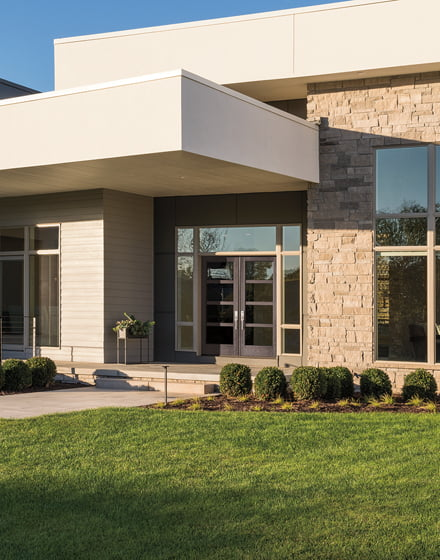 The Flush-Glazed Panel with Modern Profile by Pella.