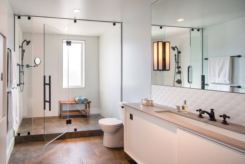 Abundant storage is built into the master bath, which doubles as a dressing room.