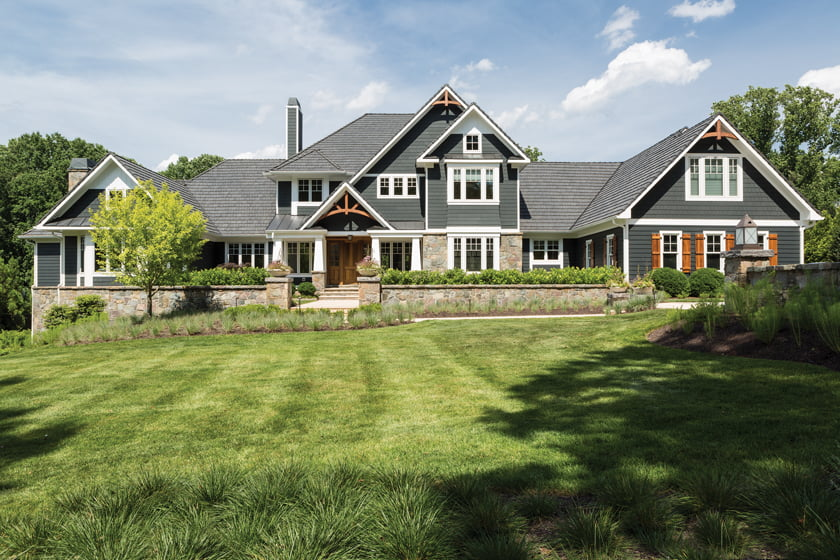 The home's exterior reveals a Craftsman influence. © Angie Seckinger