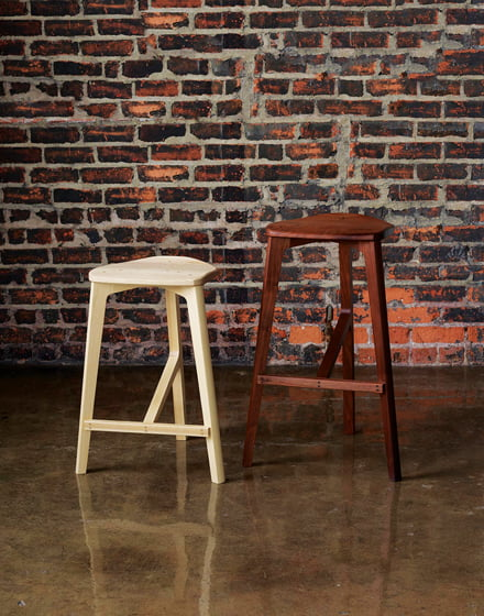 Pieces like the 120 Stool celebrate the beauty of natural wood.